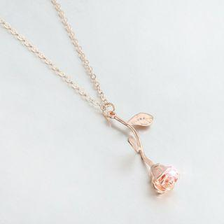 Charming rose flower pendant necklace (gold/rose gold)