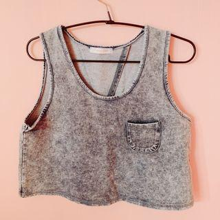BN Lowrys Farm Bareback Crop Top Grey Denim Ulzzang