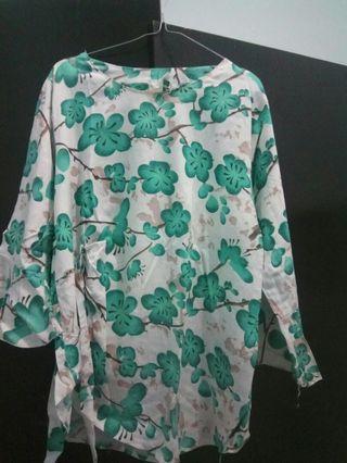 #mauthr blouse wanita bunga hijau