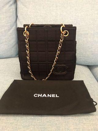 Chanel 黑色 布面 霧金鍊帶 方型包 小豆腐包 vintage 古董包 手提包 肩背包