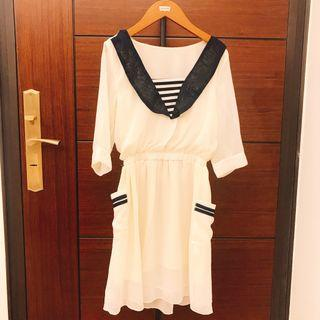 學院水手風雪紡洋裝