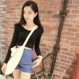 Ulzzang Black Long Sleeve Basic Crop Top