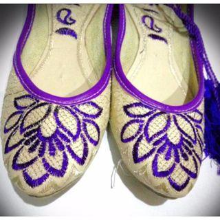 HandMade Stitch Craft Flats - Purple Tone With sliver Lining