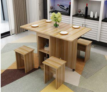 Dining table and stools set, Foldable (preorder)