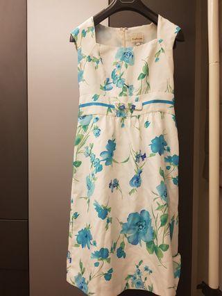 🚚 專櫃花卉無袖蝴蝶結及膝洋裝dress