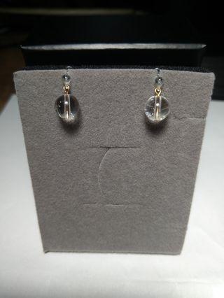 🚚 Pinkoi 設計師款 全新 白水晶氣質款矽膠夾式耳環