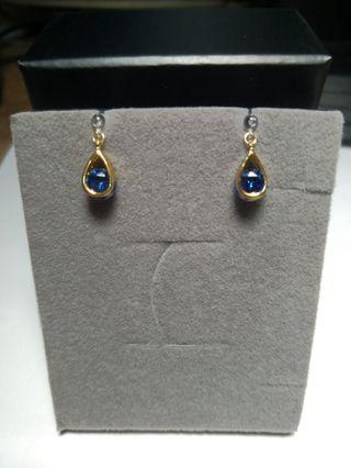 🚚 Pinkoi 設計師款 全新 藍水晶矽膠夾式耳環