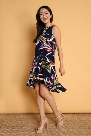All Would Envy AWE Ceresa Navy Printed Dip-Hem Dress S Size