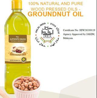 GROUNDNUT OIL, 1 Litre, 100% NATURAL AND PURE WOOD PRESSED OILS