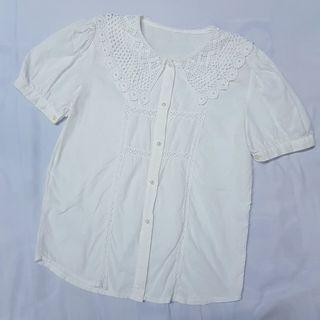 編織緹花領珍珠釦襯衫