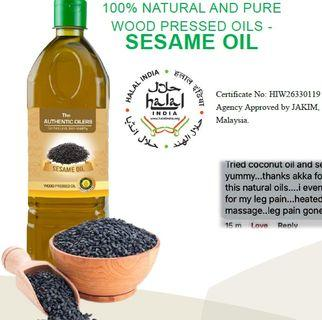 SESAME OIL, 1 Litre, 100% NATURAL AND PURE WOOD PRESSED OILS