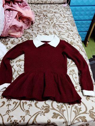 🚚 紅色針織上衣