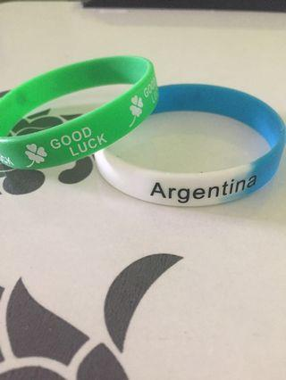"""Good Luck"" and ""Argentina"" Wristbands"