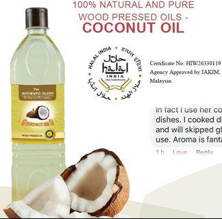 COCONUT OIL, 1 Litre , 100% NATURAL AND PURE WOOD PRESSED OILS