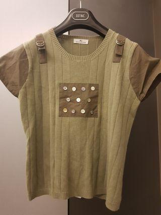 🚚 專櫃異材質拼接鈕扣款短袖上衣