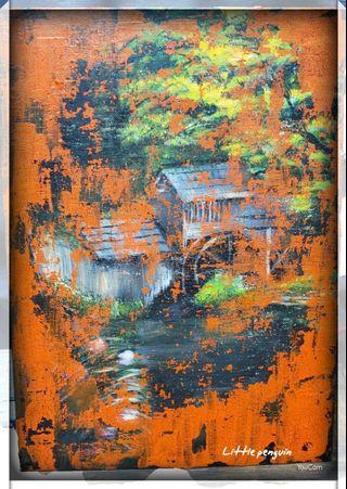Acrylic painting/龜裂