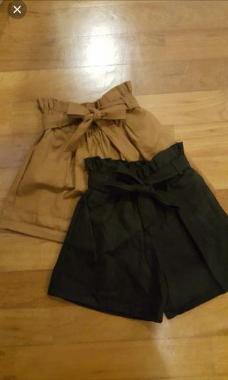 Brown Shorts Tie front