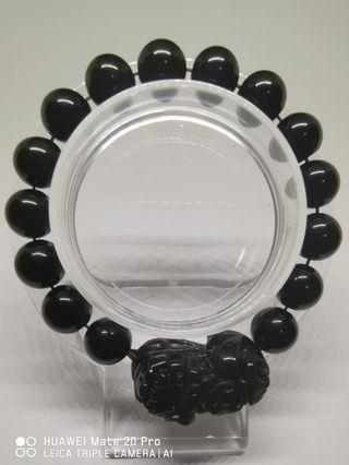 Black Obsidian Bracelet with Pixiu