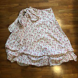 Floral Ribbon Midi Skirt