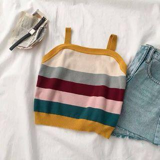 Colorblock Stripes Knitted Square Halter Top