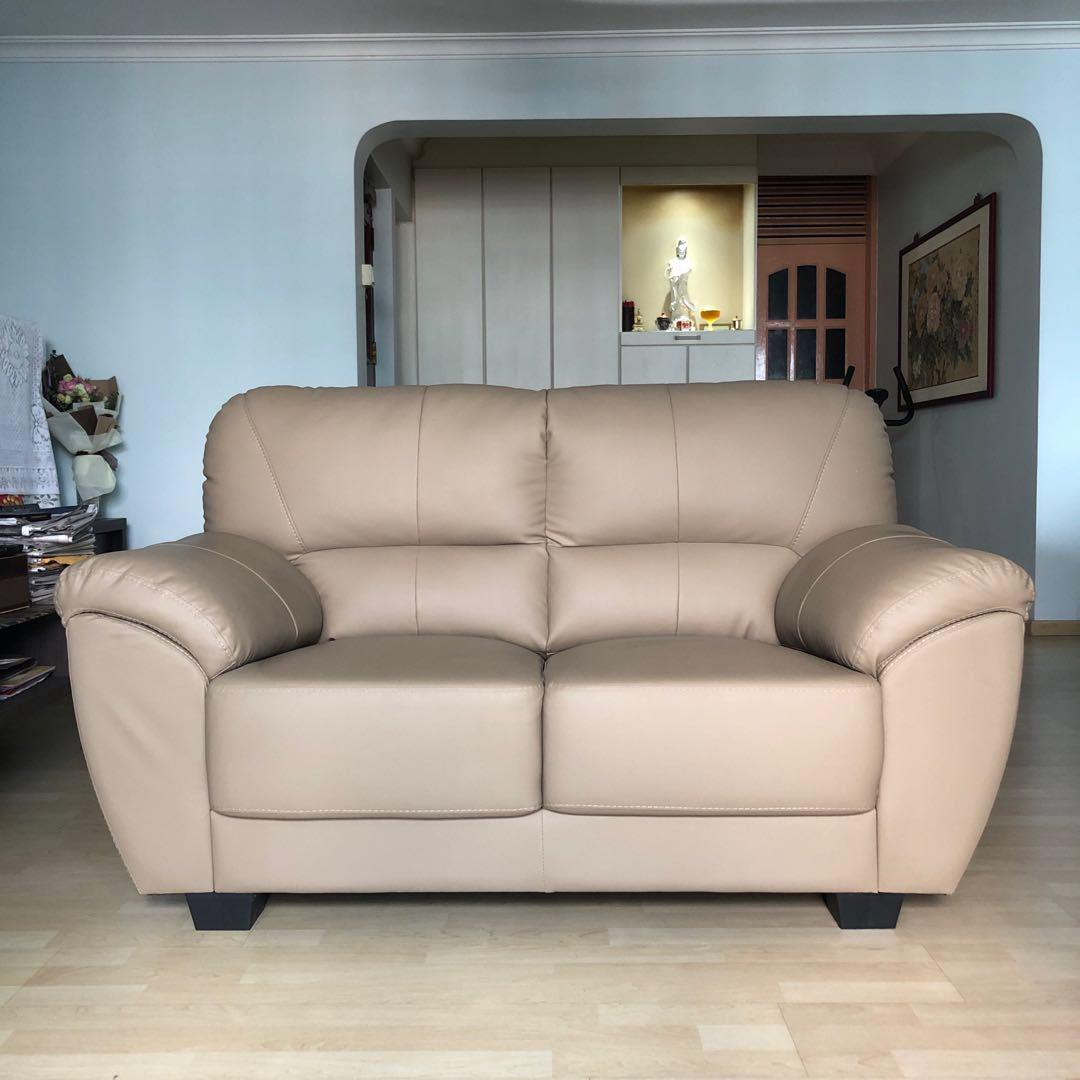 2 Seater Light Brown Faux Leather Sofa