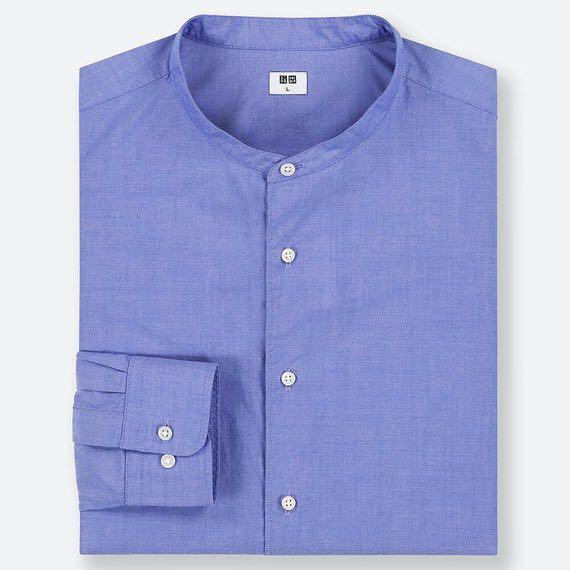Baju Kemeja Koko Lebaran Uniqlo EFC Broadcloth Kerah tegak