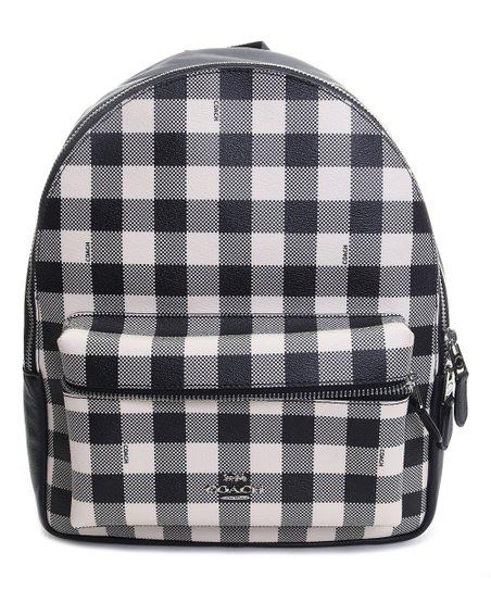 New Authentic Coach F38949 Medium Charlie Backpack in Gingham Print Black White