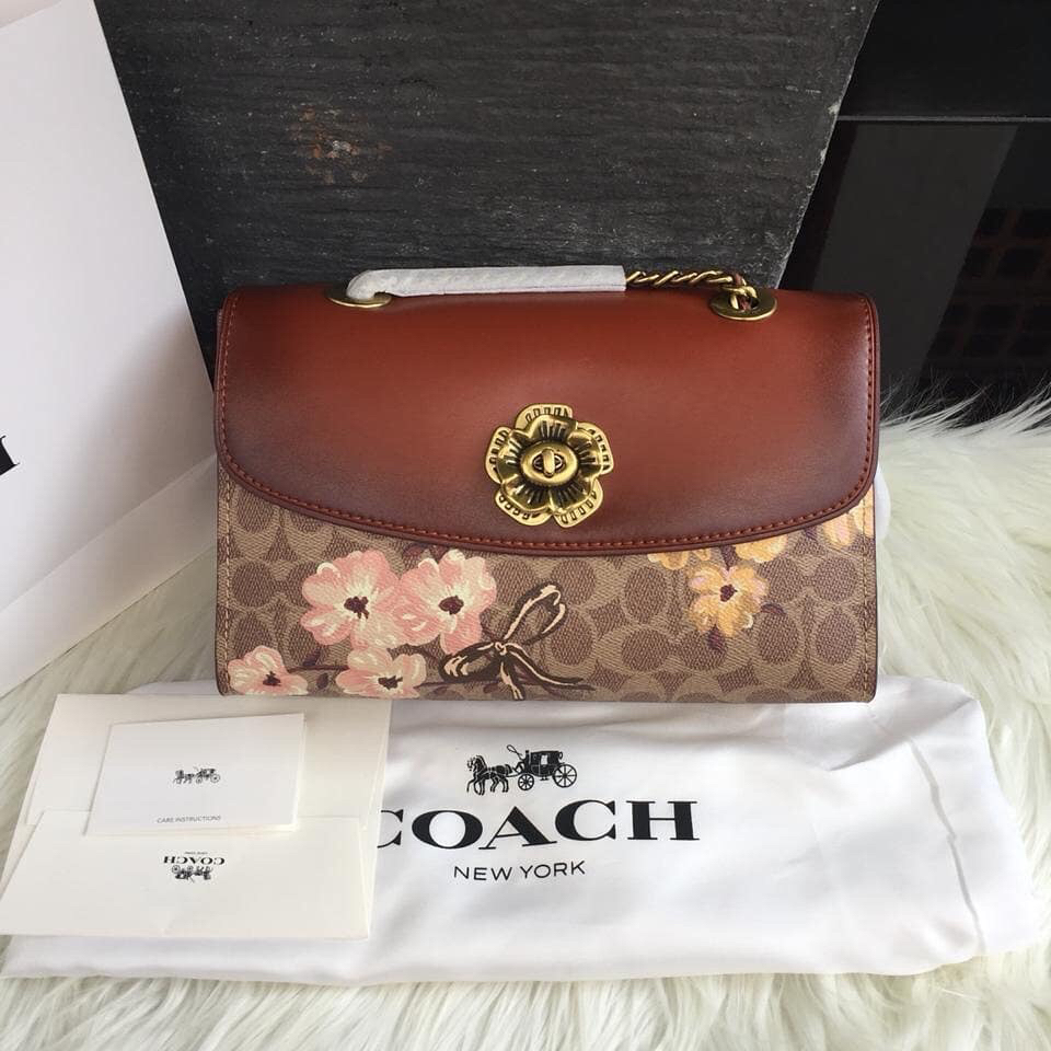 Coach parker river original full kulit asli mix canvas mulus & New💕
