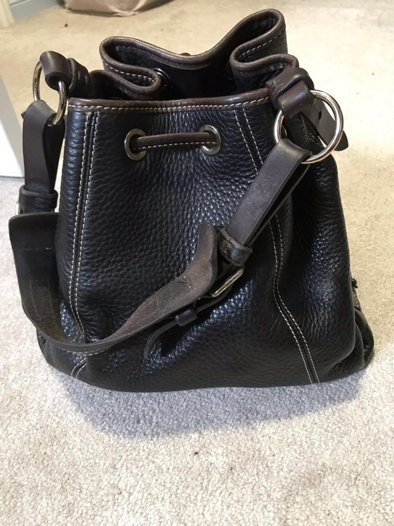 Dooney & Bourke 1975 Brown Pebble Leather Bucket Fringe Drawstring Purse Bag