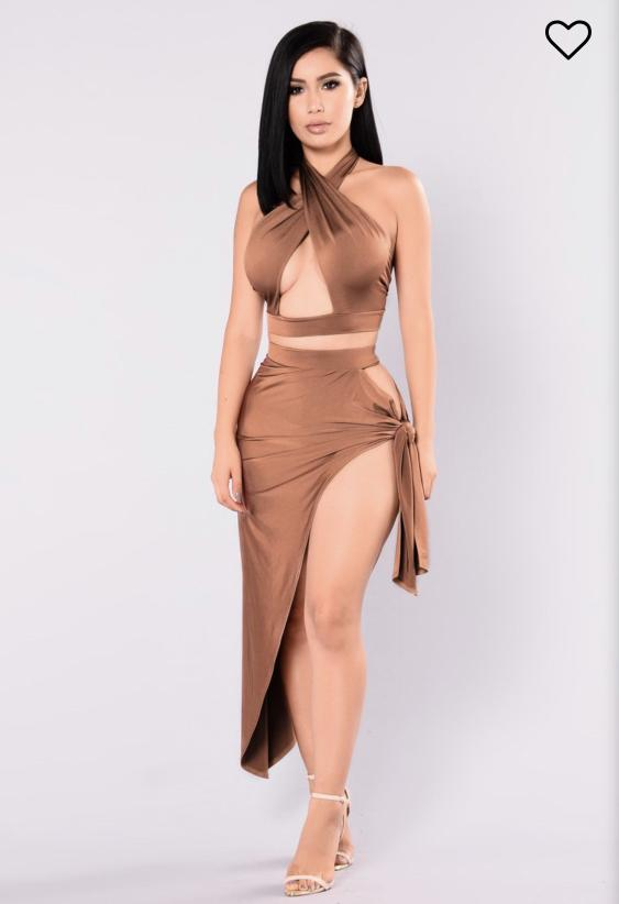 Fashion Nova Egyptian Queen Cut Out Set Brown Midaxi Skirt and Top Two Peice Set BNWT