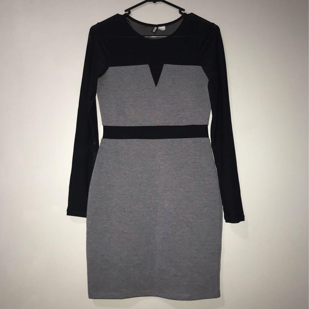 Grey and Black Mesh Dress