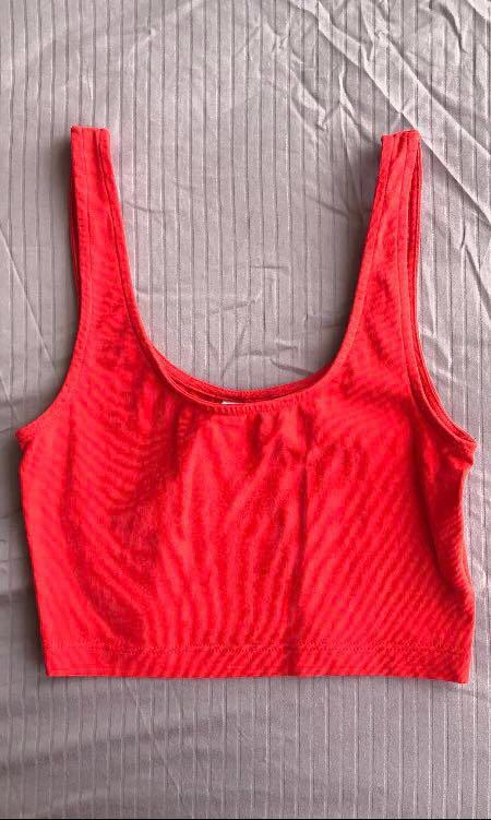 h&m red scoop neck tank top