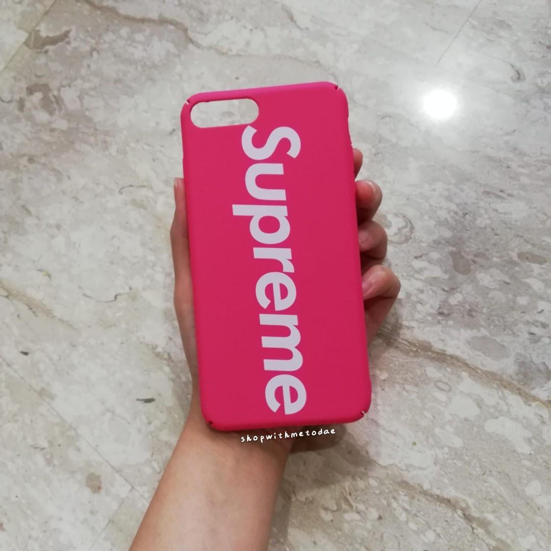 timeless design 413b1 e382a INSTOCK Matte Pink Supreme Iphone 8 Plus / 7+ / 6+ casing