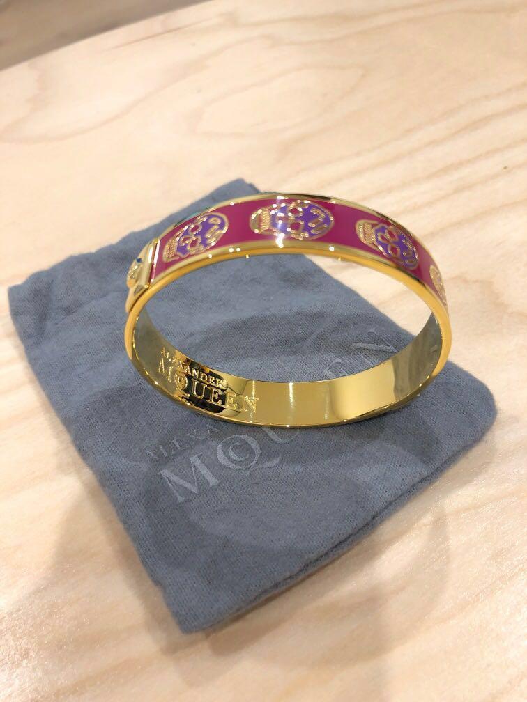 New Alexander McQueen Enameled Brass Skull Bracelet