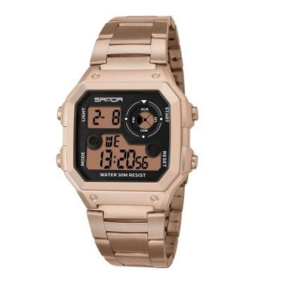 New Design Men LED Digital Multifunction Stainless Steel Sports Watches
