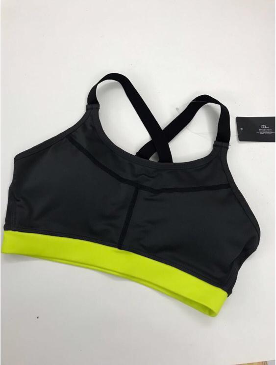 OB 可調式交叉肩帶撞色運動背心 (灰黃)
