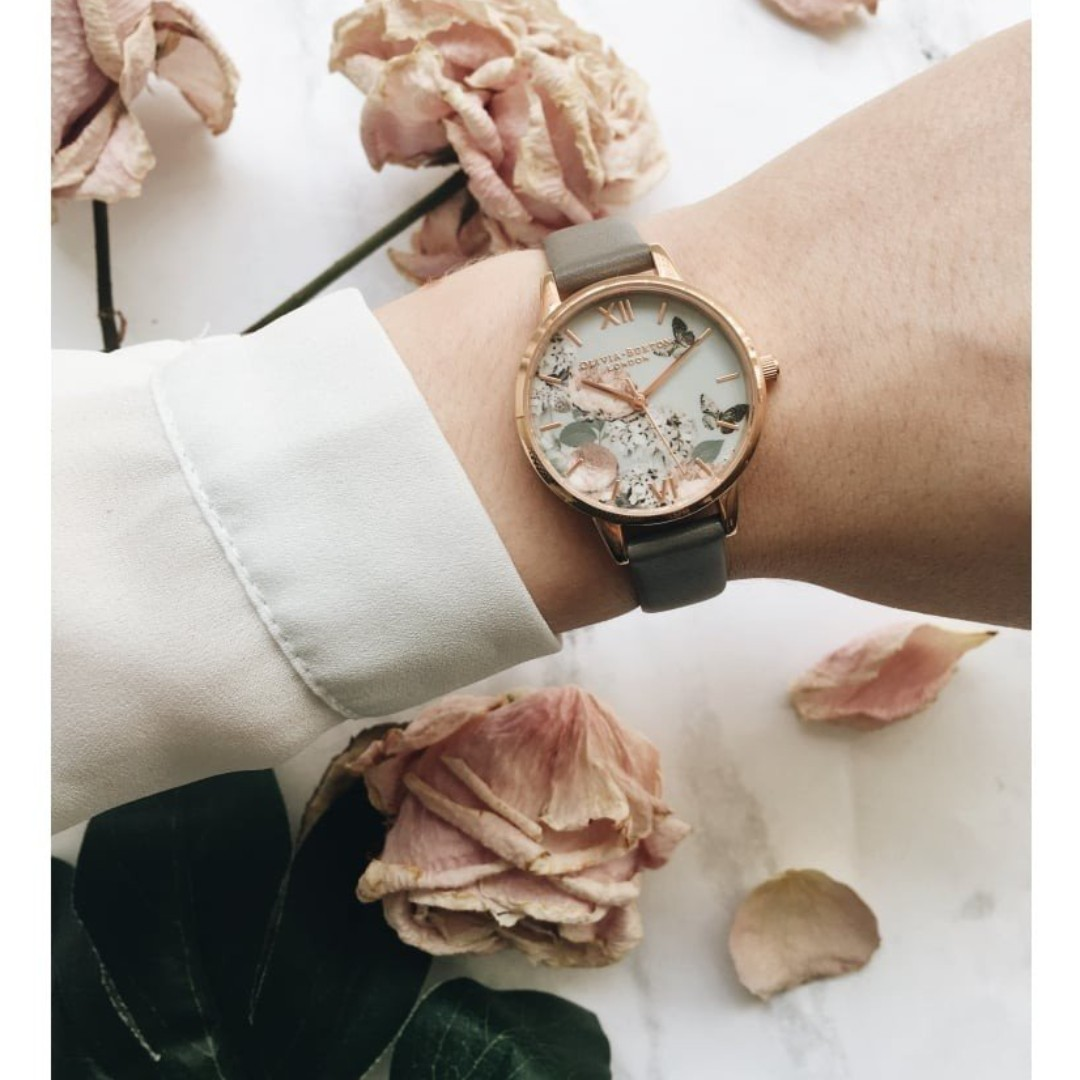 74ecf9c05 Olivia Burton OB16EG67 Midi Signature Floral London Grey Leather Ladies  Watch, Women's Fashion, Watches on Carousell