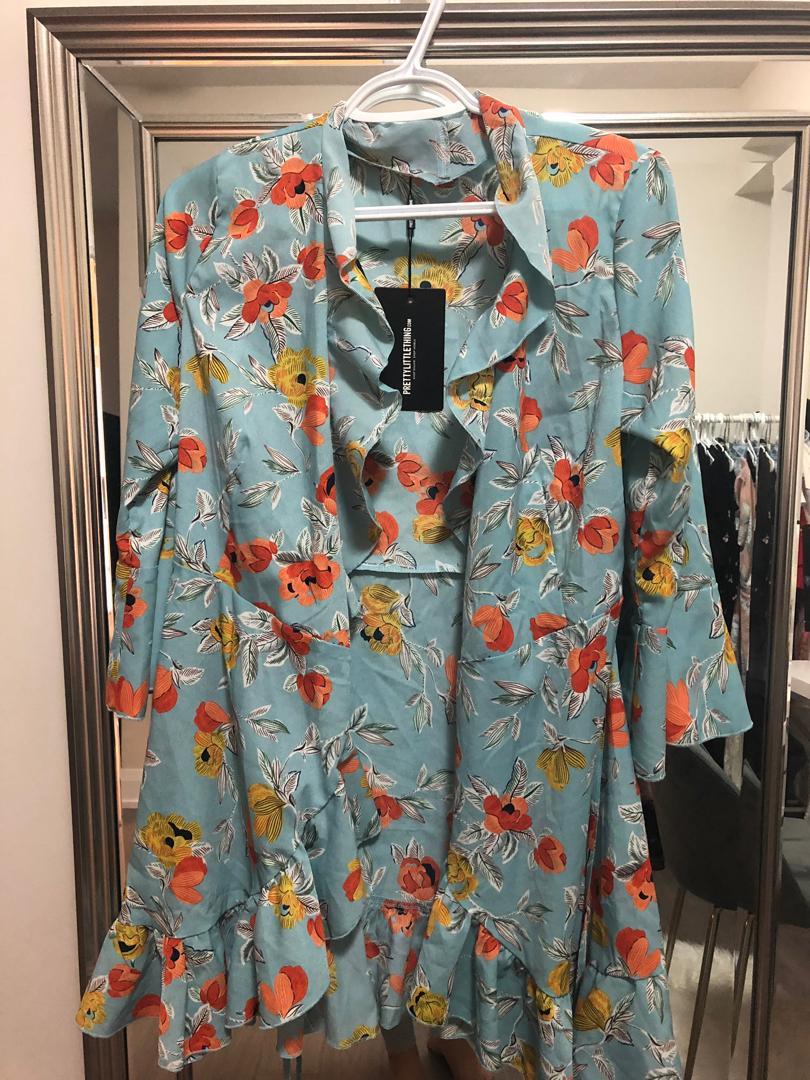 Prettylittlething Blue Hem Frill Dress - Size 6 US