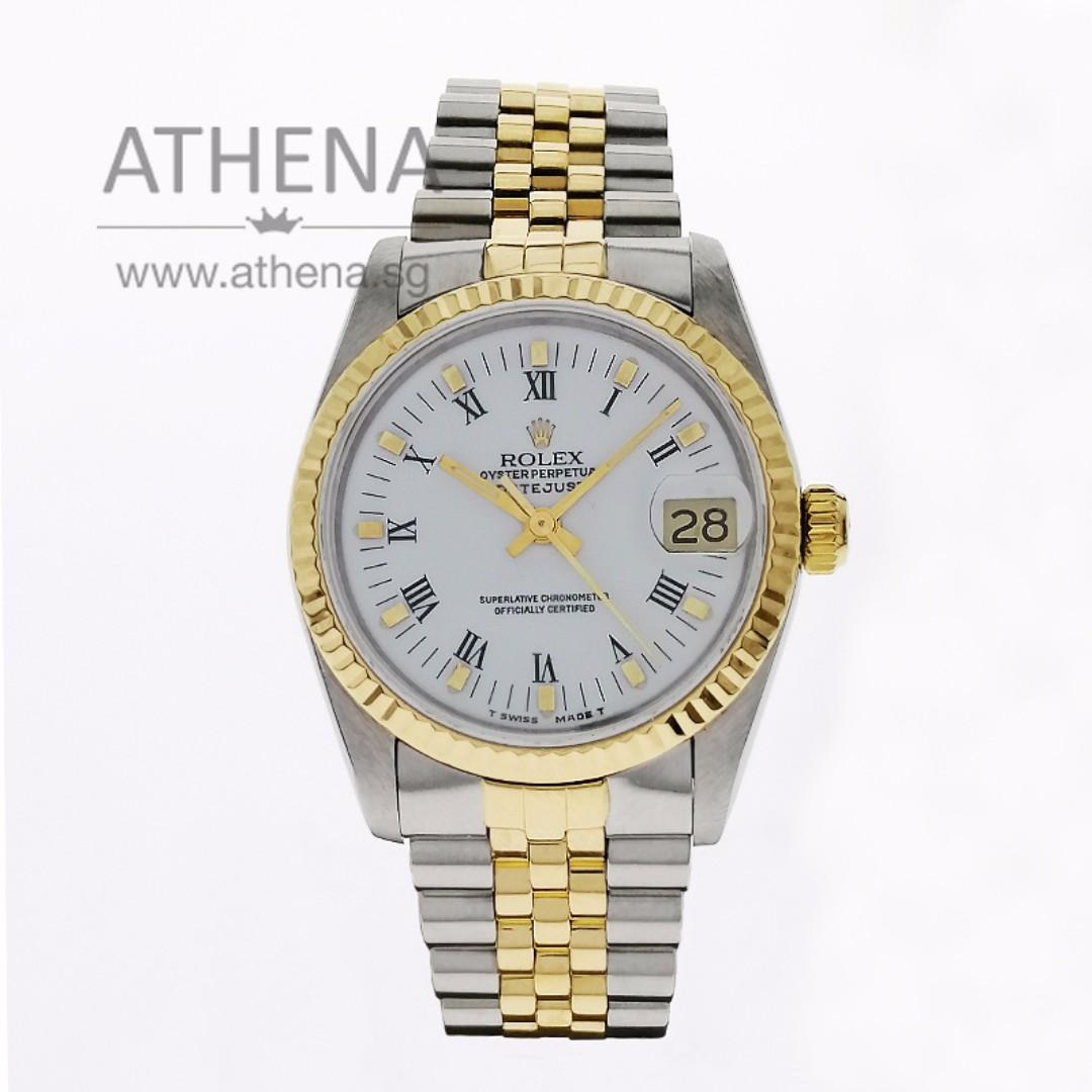 """ROLEX """"HALF-GOLD"""" MID-SIZE OYSTER PERPETUAL DATEJUST """"E"""" SERIES """"WHITE ROMAN INDEX DIAL"""" 68273  JGWRL_942"""