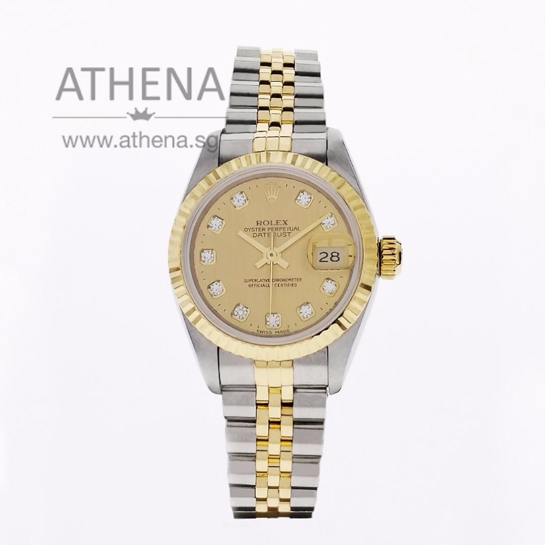 """ROLEX """"HALF-GOLD"""" OYSTER PERPETUAL LADIES DATEJUST """"S"""" SERIES """"CHAMPAGNE DIAMOND DIAL"""" WITH CERT 69173`  JGWRL_941"""
