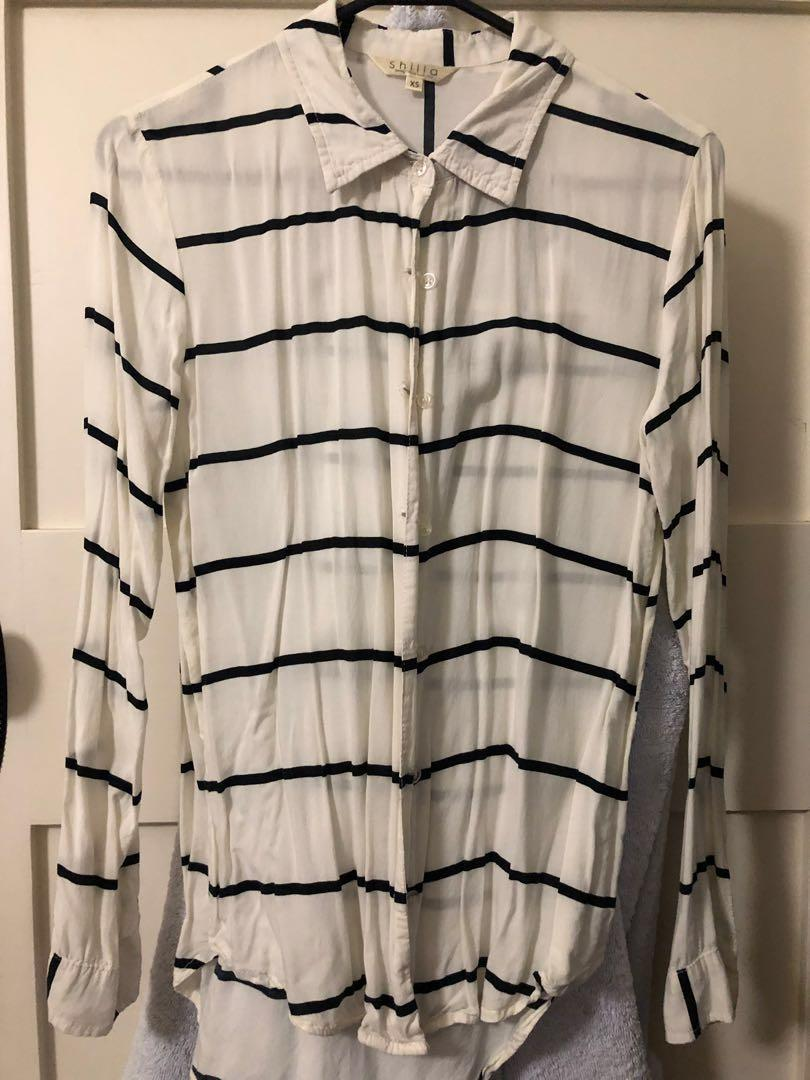 Shilla the label cheesecloth white stripe shirt size 6-8