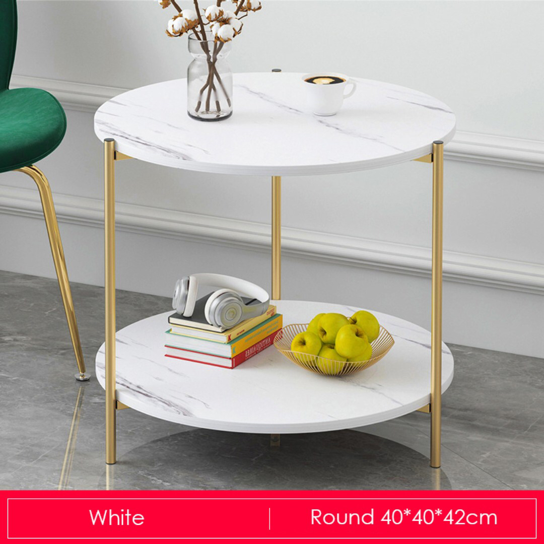 Gold Metal Round Coffee Table.Marble Print Gold Metal Round Coffee Table White