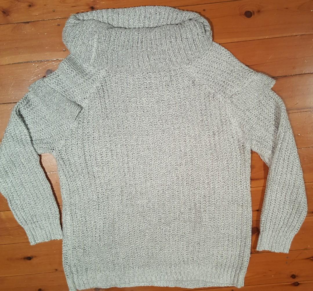 The 1964 Denim Company frill detail knit jumper grey SZ L.