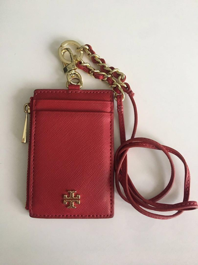 Tory Burch Emerson Lanyard / Card / ID /Coin holder in Red