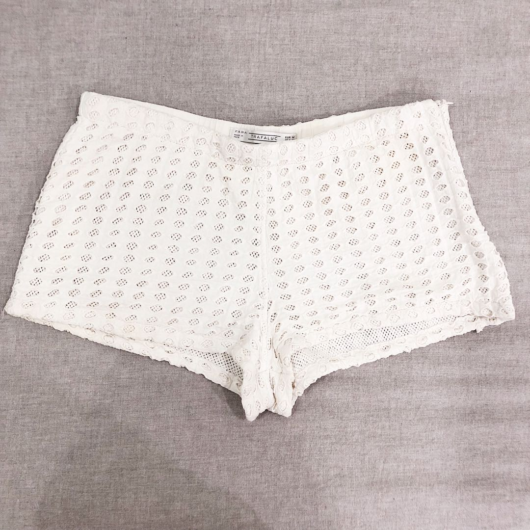 White Lace Crochet Shorts Womens Fashion Clothes Pants Jeans