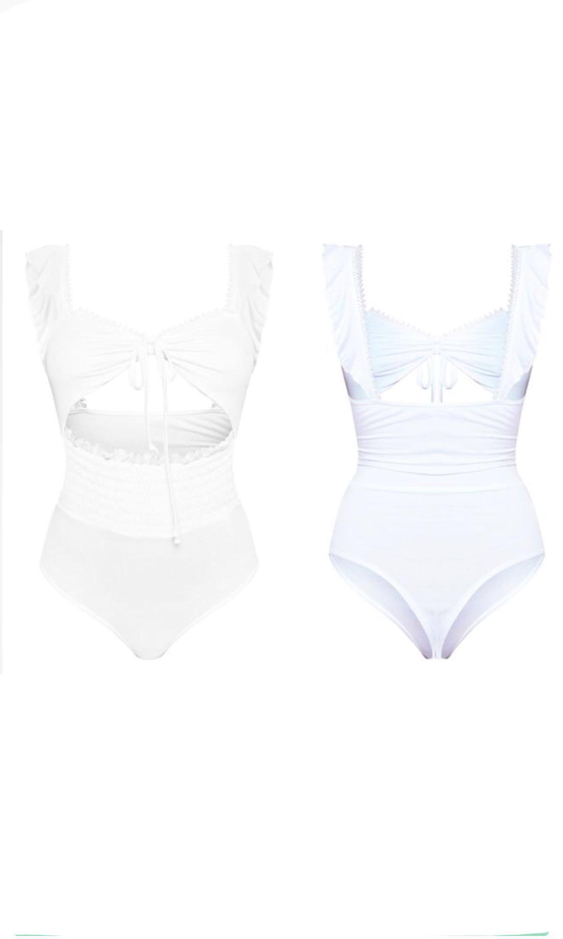 White Shirred Frill Bodysuit