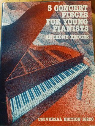 (琴譜) 5 concert pieces for young pianists, Anthony Hedges