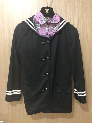 🚚 [奇怪的孩子]海軍領黑色棉質外套