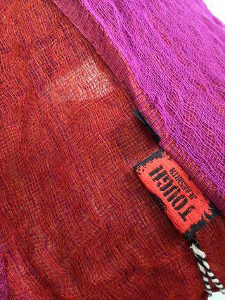 紅x紫紅雙面紗圍巾