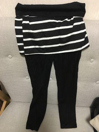 全新孕婦大肚黑白橫間裙連legging